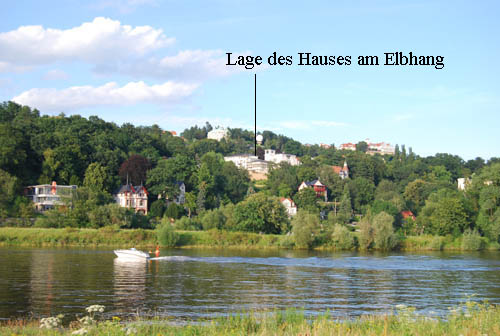 Lage des Hauses am Elbhang