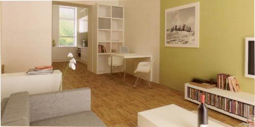 Einrichtungsbeispiel Übergang Wohnzimmer zur Küche