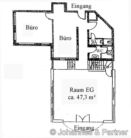Grundriss Erdgeschoss verbunden mit der Büroeinheit