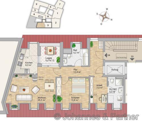 Grundriss Wohnung 34