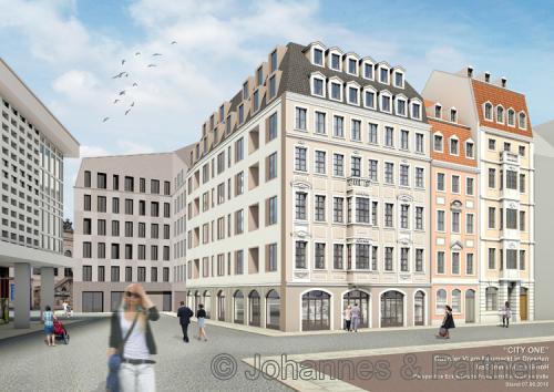Illustration Blickachse Galeriestraße auf Bauteil 4 & 5 & 9