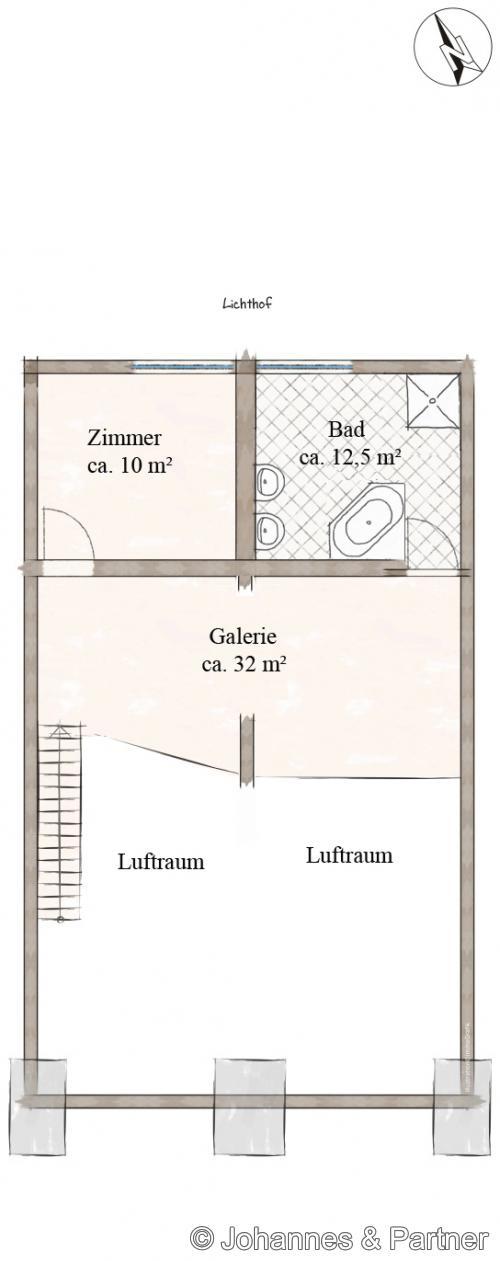 Grundriss obere Ebene (Galerie)