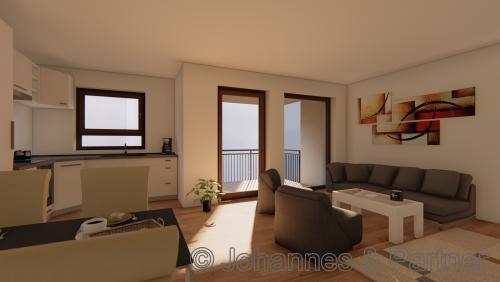 Wohnzimmer und Küche (Illustration)