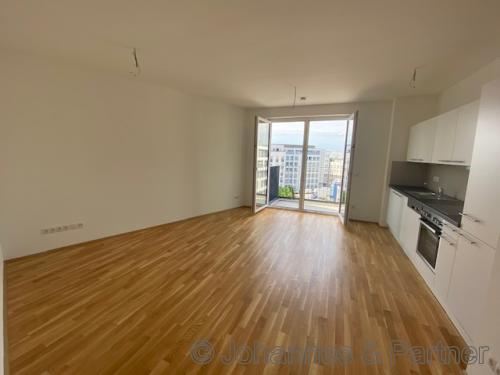 großes, helles Wohnzimmer mit offener Küche mit Einbauküche