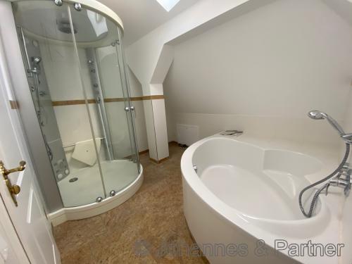 großes Badezimmer mit Badewanne und Dusche