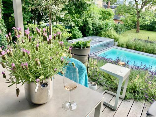 hübscher kleiner Garten mit Pool
