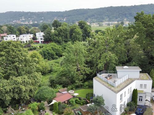 Blick aus dem Obergeschoss ins Naturschutzgebiet